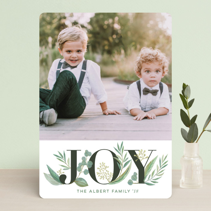 """""""Greenery"""" - Holiday Photo Cards in Coal by Jessie Steury."""