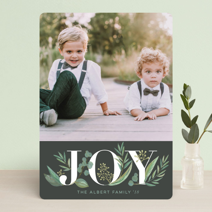 """Greenery"" - Holiday Photo Cards in Coal by Jessie Steury."