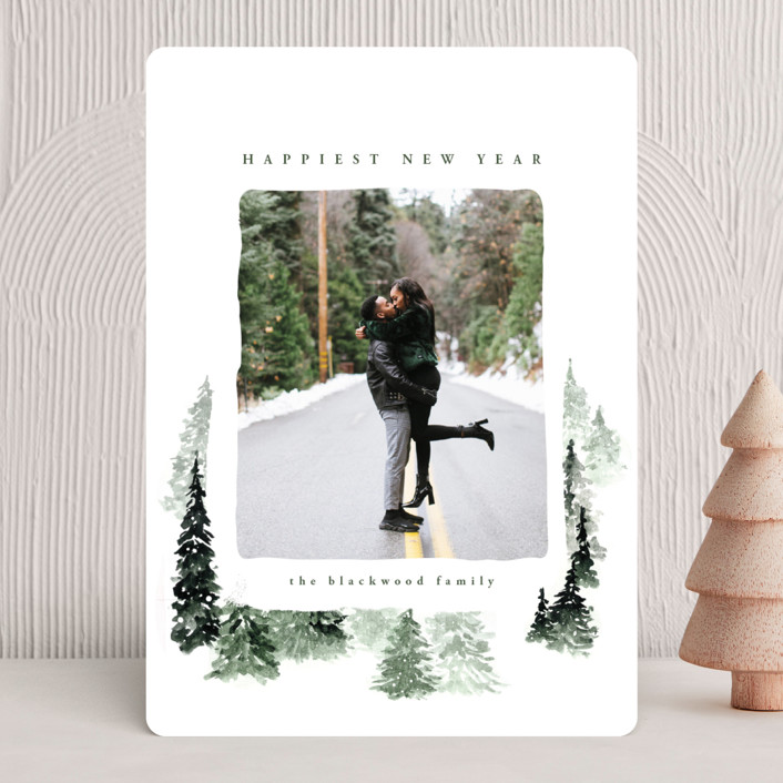 """fall of snow"" - Bohemian Holiday Photo Cards in Evergreen by Anastasia Makarova."