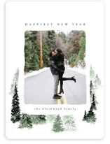 This is a green holiday photo card by Anastasia Makarova called fall of snow with standard printing on smooth signature in standard.