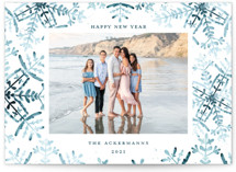This is a blue holiday photo card by Angel Walker called Wintery Flurry with standard printing on smooth signature in standard.