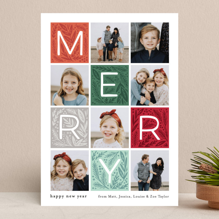 """Merry Letter Boxes"" - Holiday Photo Cards in Wine by Alethea and Ruth."