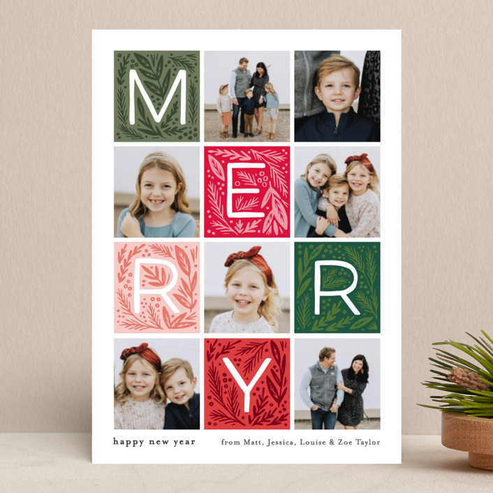 """""""Merry Letter Boxes"""" - Holiday Photo Cards in Berry by Alethea and Ruth."""