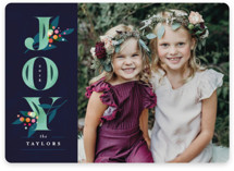 This is a blue holiday photo card by Lori Wemple called Joy Branches with standard printing on smooth signature in standard.