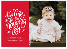 This is a red holiday photo card by Lea Delaveris called Too cute for the naughty list with standard printing on smooth signature in standard.