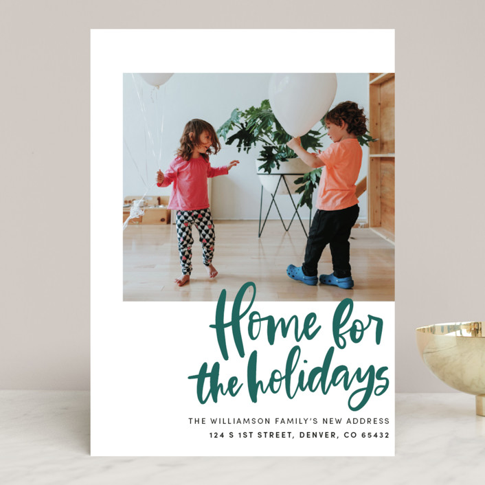 """""""Home Sweet Holiday Home"""" - Holiday Photo Cards in Leaf by Vine and Thistle."""