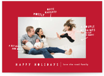 This is a red holiday photo card by Lori Wemple called Naughty Nice with standard printing on smooth signature in standard.