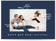 This is a blue holiday photo card by Lori Wemple called Naughty Nice with standard printing on smooth signature in standard.