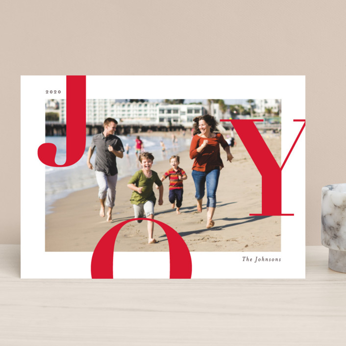 """""""Supreme Joy"""" - Holiday Photo Cards in Berry by Michelle Taylor."""