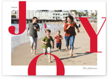This is a red holiday photo card by Michelle Taylor called Supreme Joy with standard printing on smooth signature in standard.