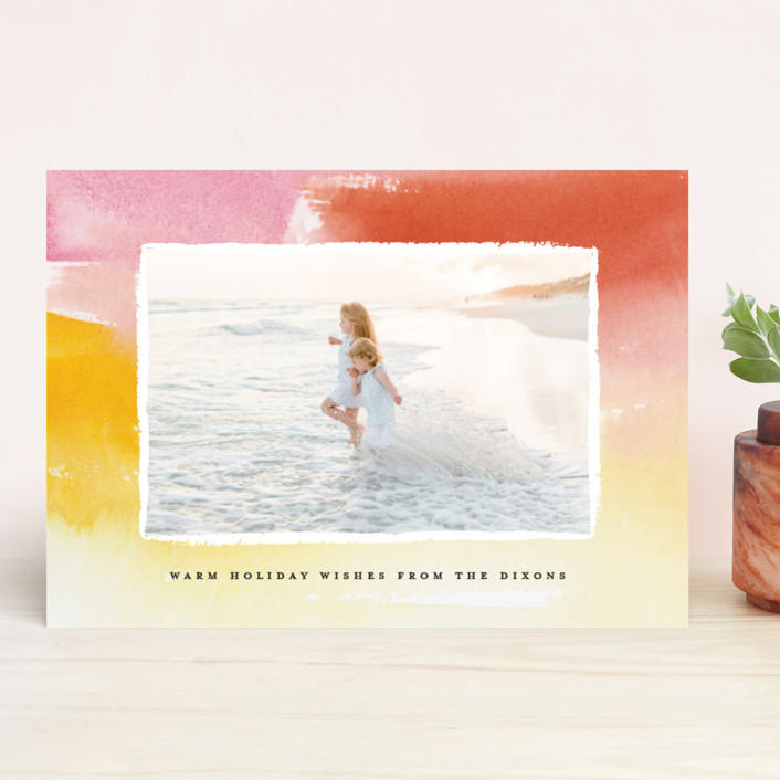 """""""Watercolor Wishes"""" - Holiday Photo Cards in Sunflower by Lindsay Megahed."""