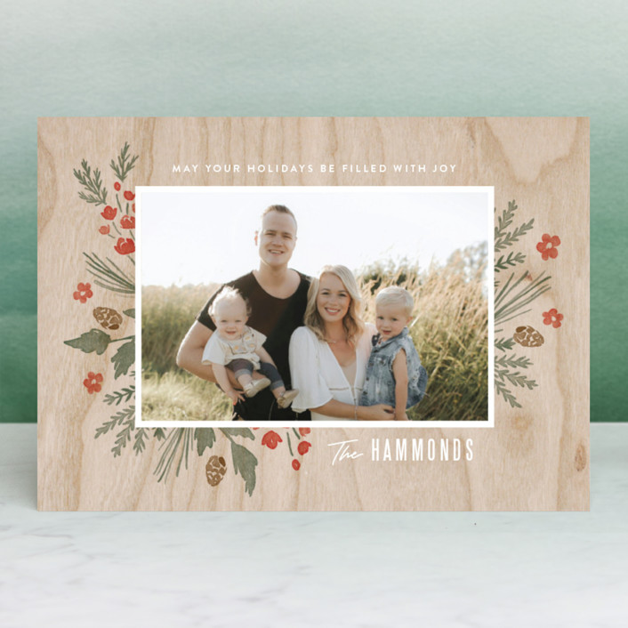 """""""Wooden Frame"""" - Holiday Photo Cards in Festive Red by Oscar & Emma."""