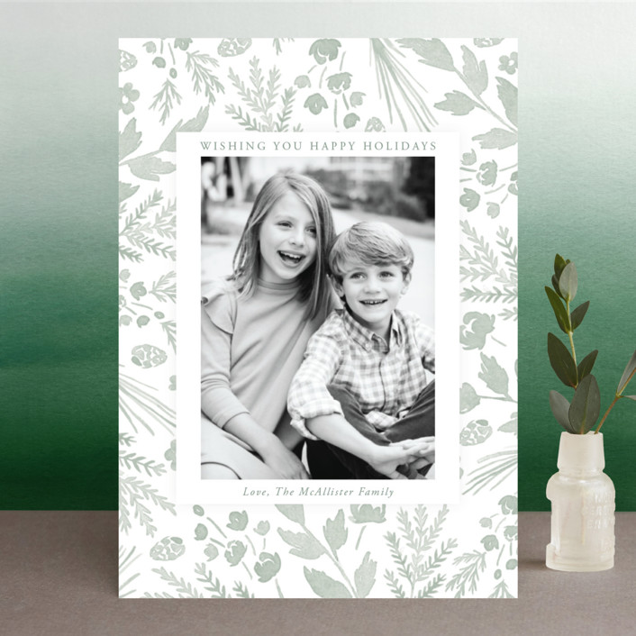 """""""Among the Foliage"""" - Holiday Photo Cards in Sage by Oscar & Emma."""