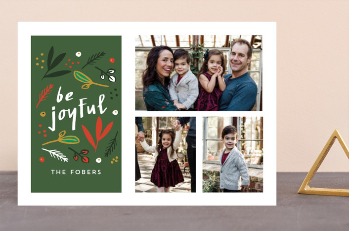 """Be Joyful Nature Multi"" - Holiday Photo Cards in Forest by Erika Firm."