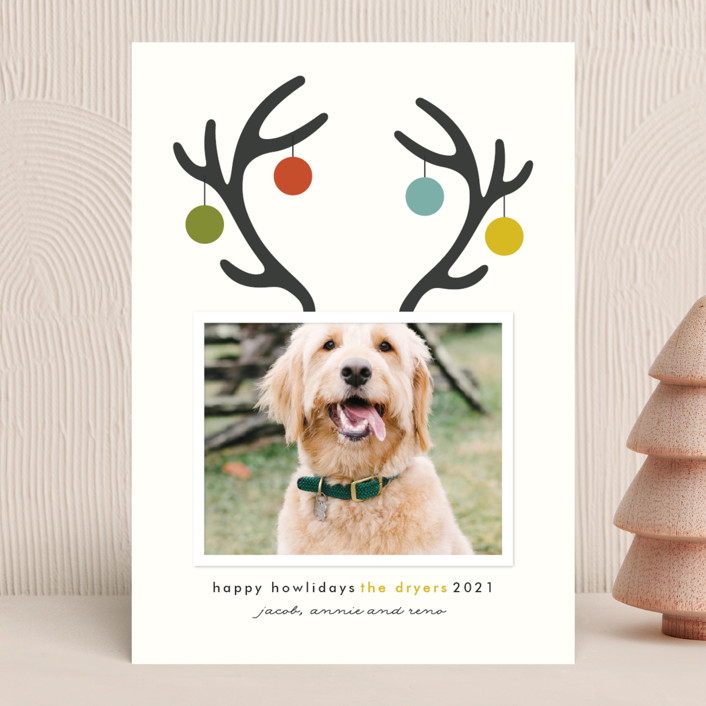 """Happy Howlidays"" - Funny Holiday Photo Cards in Golden by Lisa Cersovsky."