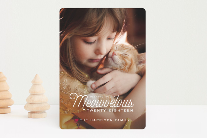 """""""Meowvelous Holiday"""" - Funny Holiday Photo Cards in Holly Berry by Guess What Design Studio."""
