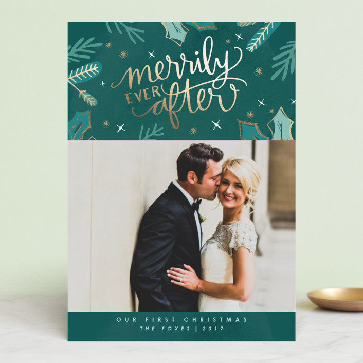 """""""Merrily Ever After"""" - Holiday Photo Cards in Evergreen by Makewells."""