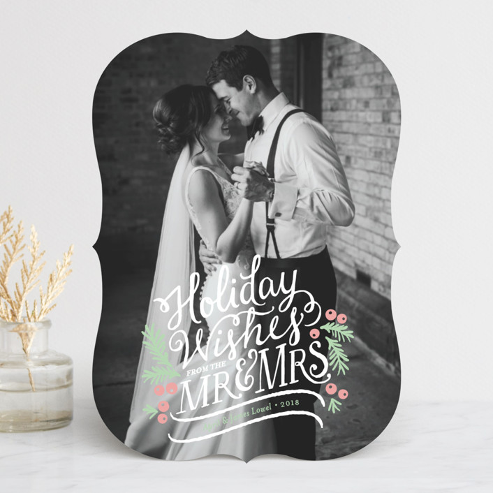 """""""Mr. & Mrs."""" - Vintage Holiday Photo Cards in Snow by Mandy Rider."""
