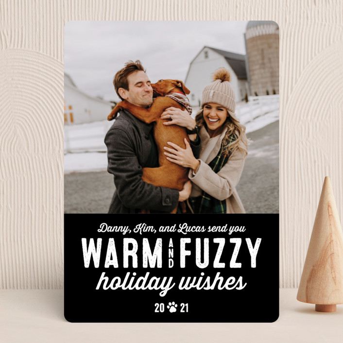 """""""Warm Fuzzies"""" - Funny Holiday Photo Cards in Coal by Lea Delaveris."""