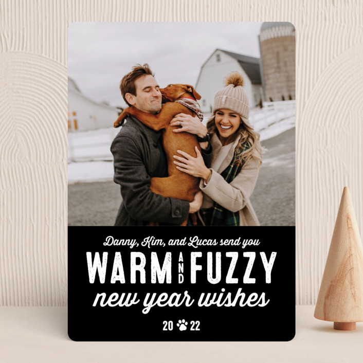 """Warm Fuzzies"" - Funny Holiday Photo Cards in Coal by Lea Delaveris."
