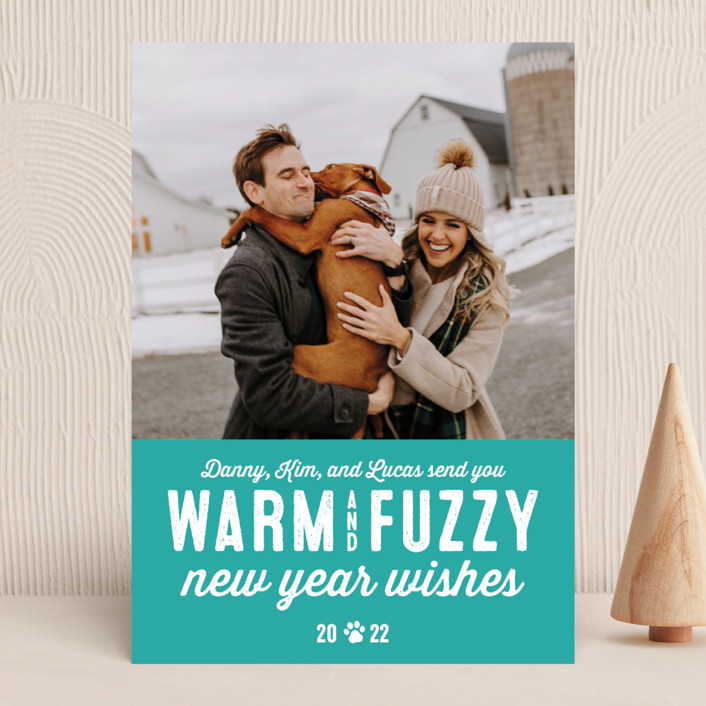 """Warm Fuzzies"" - Funny Holiday Photo Cards in Candy Cane by Lea Delaveris."