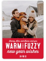 This is a red holiday photo card by Lea Delaveris called Warm Fuzzies with standard printing on smooth signature in standard.