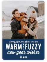This is a blue holiday photo card by Lea Delaveris called Warm Fuzzies with standard printing on smooth signature in standard.