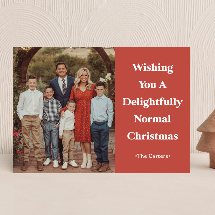 """""""A Normal Christmas"""" - Funny Holiday Photo Cards in Santa Red by GeekInk Design."""