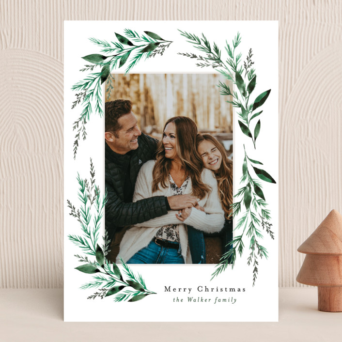"""""""Painted Greenery Swag"""" - Holiday Photo Cards in Snow by Alethea and Ruth."""