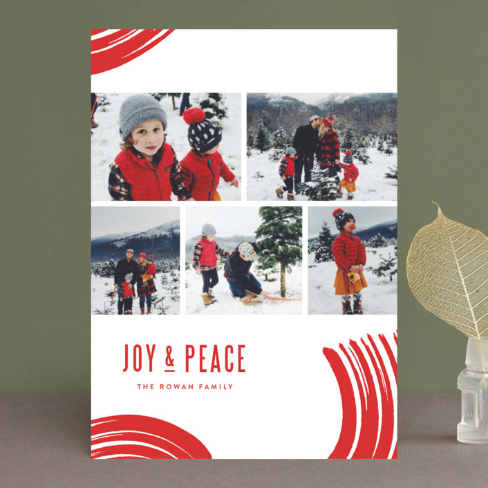 """Windows of Joy"" - Modern Holiday Photo Cards in Candy Cane by Oscar & Emma."