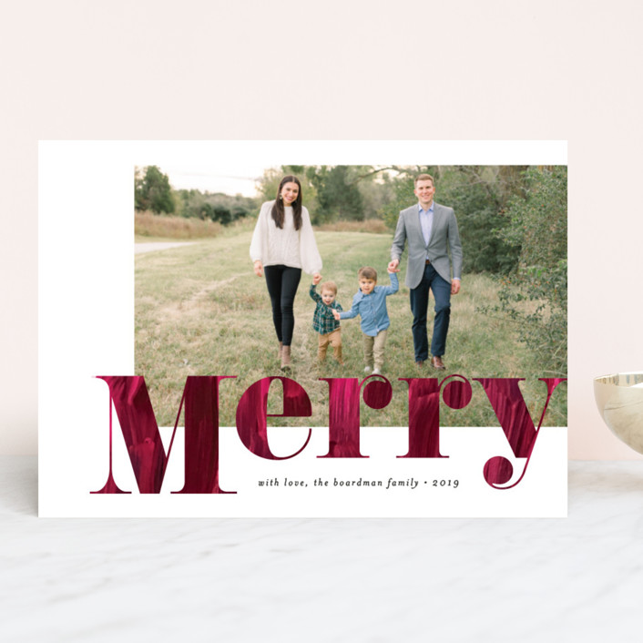 """Painterly Merry"" - Holiday Photo Cards in Cranberry by Amy Payne."