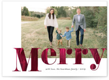 This is a red holiday photo card by Amy Payne called Painterly Merry with standard printing on smooth signature in standard.