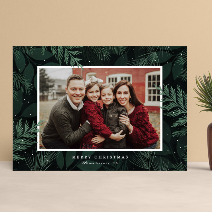 """""""Cedar Boughs"""" - Holiday Photo Cards in Wintergreen by Kelly Schmidt."""
