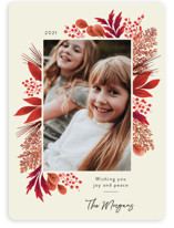 This is a red holiday photo card by Kimberly Morgan called Crimson Holiday with standard printing on smooth signature in standard.