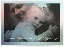 This is a pink holiday photo card by Creo Study called Festive Glow with standard printing on smooth signature in standard.