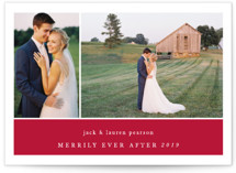 This is a red holiday photo card by Kate Ross called Merrily Ever After with standard printing on smooth signature in standard.