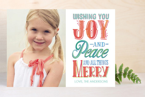 Joy Peace and All Things Merry Holiday Photo Cards