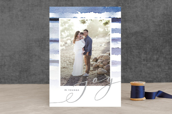 """Shibori Holiday Stripes"" - Bohemian, Modern Holiday Photo Cards in Indigo Dreams by Design Lotus."