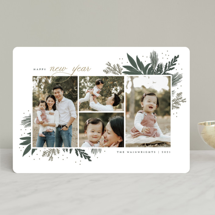 """Make Your Own Joy"" - Holiday Photo Cards in Evergreen by Sarah Brown."