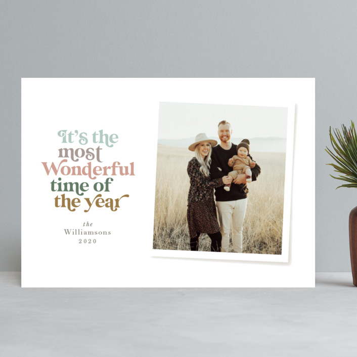 """Most Wonderful"" - Vintage Holiday Photo Cards in Latte by Jennifer Wick."