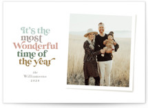 This is a brown holiday photo card by Jennifer Wick called Most Wonderful with standard printing on smooth signature in standard.