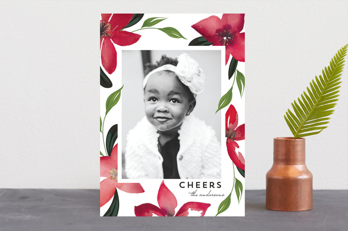 """""""Washed Poinsettias"""" - Holiday Photo Cards in Crimson by Susan Moyal."""