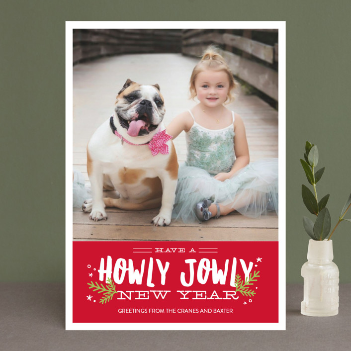 """Howly Jowly Christmas"" - Funny Holiday Photo Cards in Cranberry by Eric Clegg."