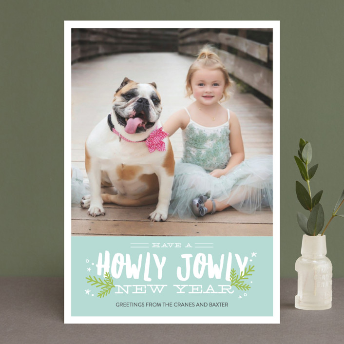"""""""Howly Jowly Christmas"""" - Funny Holiday Photo Cards in Cranberry by Eric Clegg."""
