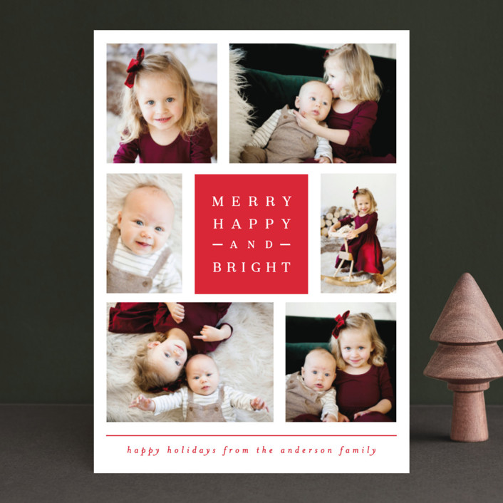"""""""merry happy and bright"""" - Holiday Photo Cards in Berry by Michelle Poe."""
