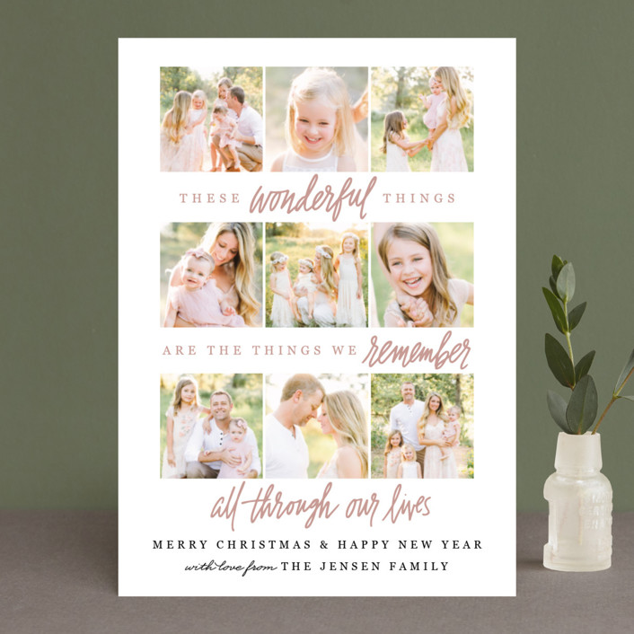 """Wonderful Things"" - Holiday Photo Cards in Rosy Cheeks by Jamie Schultz Designs."