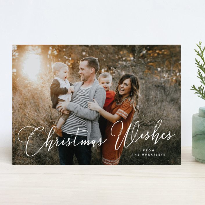 """Sparkly Wishes"" - Holiday Photo Cards in Snow by Bonjour Berry."