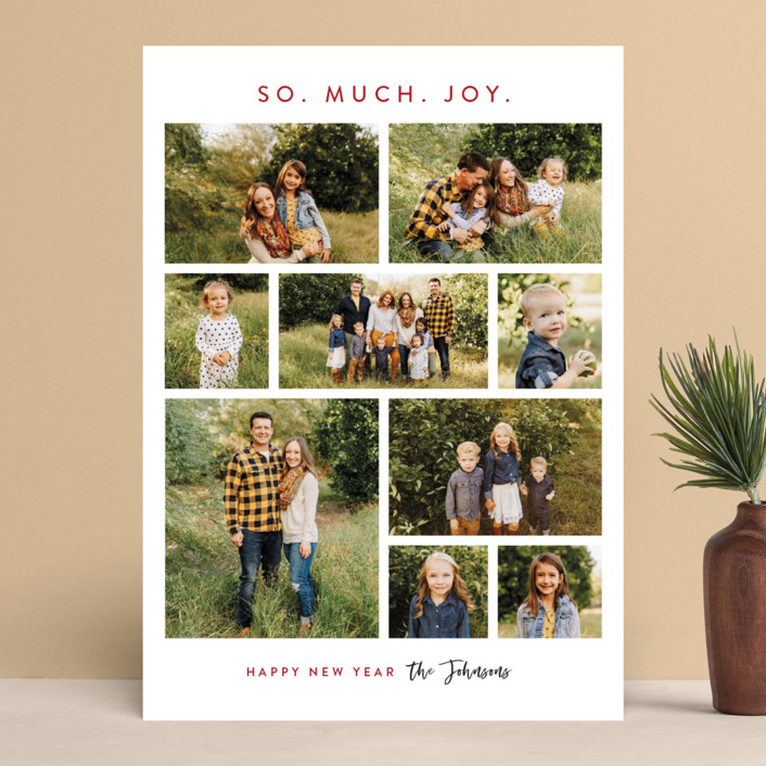 """So.Much.Joy."" - Holiday Photo Cards in Cranberry by Lisa Assenmacher."