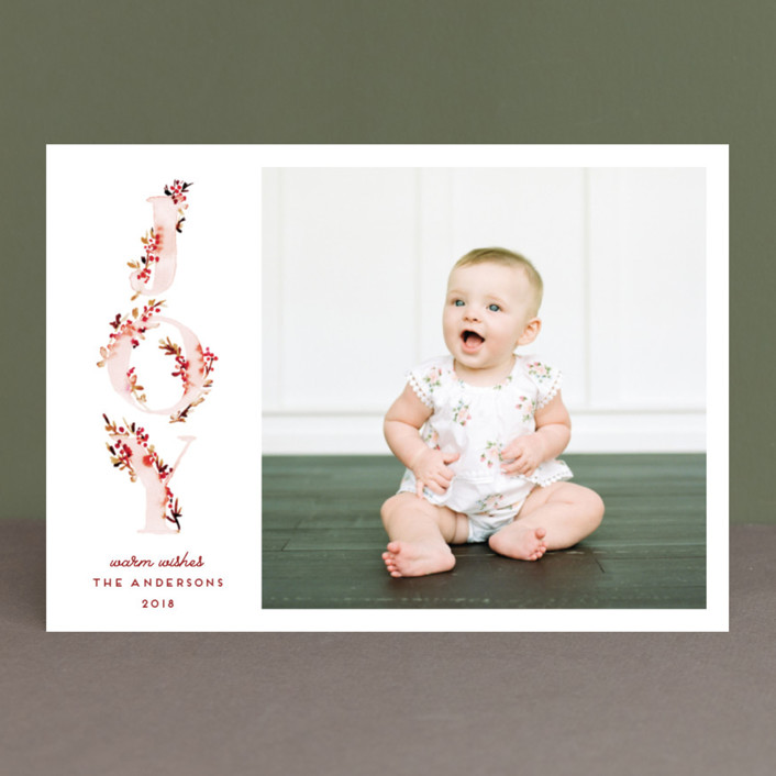 """Boho Vine Joy"" - Holiday Photo Cards in Burgundy by Petra Kern."