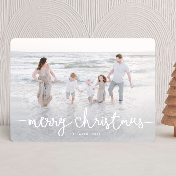 """Playful Script"" - Modern Holiday Photo Cards in Cotton by Melanie Severin."